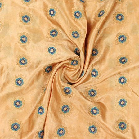 Golden Blue Flower Brocade Silk Fabric-9066