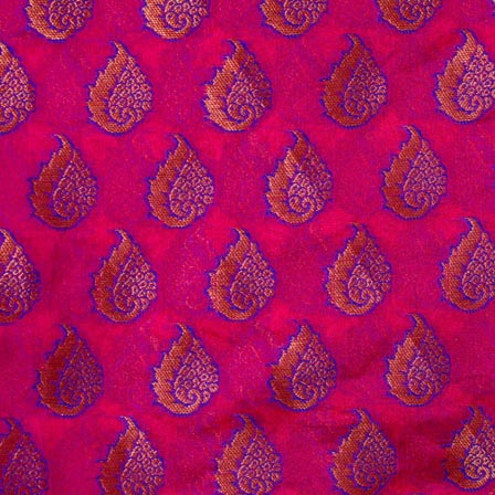 Golden-Blue and Dark Pink Floral Pattern Chanderi Fabric-4386