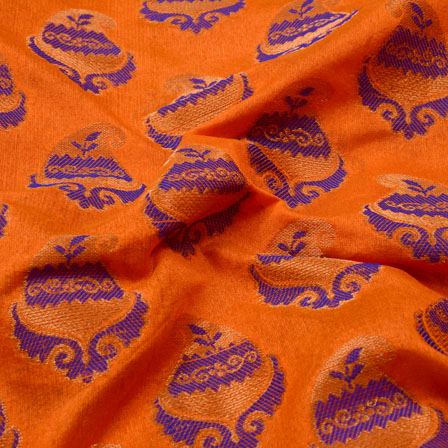 Golden-Blue and Orange Paisley Chanderi Silk Fabric-5461