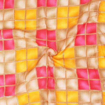 Golden Checks Design On Pink and Yellow Kota Doria Fabric-25027