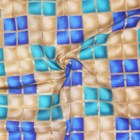 Golden Checks Pattern On Blue and Cream Kota Doria Fabric-25032