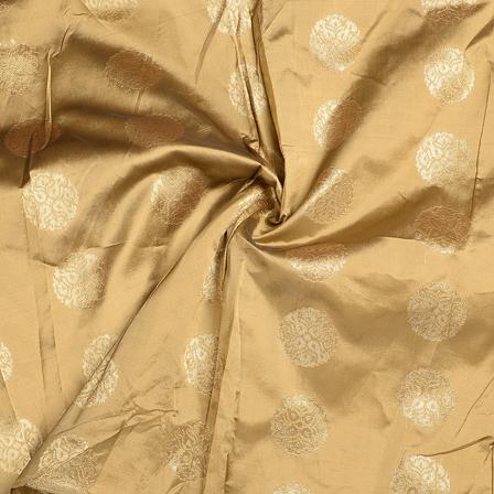 Golden Circular Brocade Silk Fabric-8573
