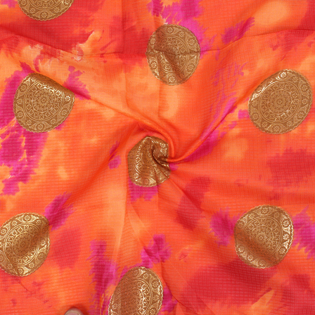 Orange Pink and Golden Circular Design Kota Doria Fabric-25046
