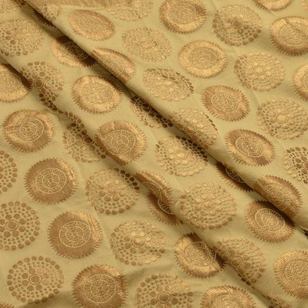 Golden Circular Design Silk Brocade Fabric-8374