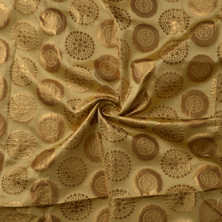 Golden Circular Design Silk Brocade Fabric-8374