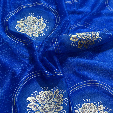 Golden-Cream and Blue Flower Design Lycra Fabric-6537