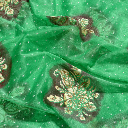 Golden-Cream and Green Flower Shape Lycra Fabric-6527