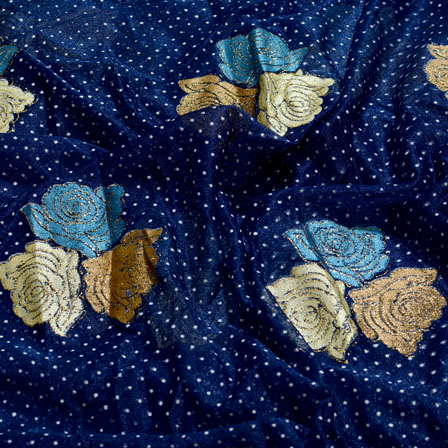 Golden-Cream and Royal Blue Flower Design Lycra Fabric-6535