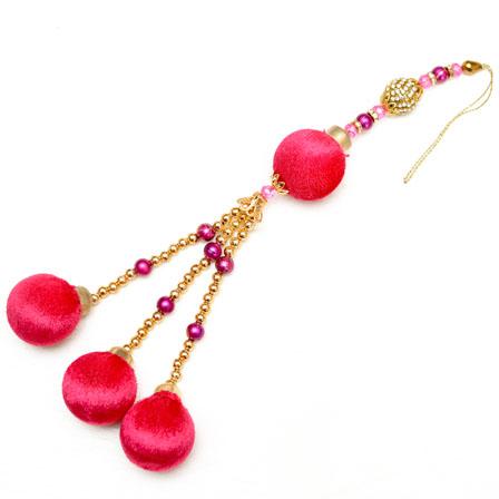 Golden Decorative Latkans with Pink Pom Pom-0045