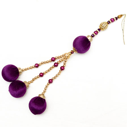 Golden Decorative Latkans with Purple Pom Pom-0046