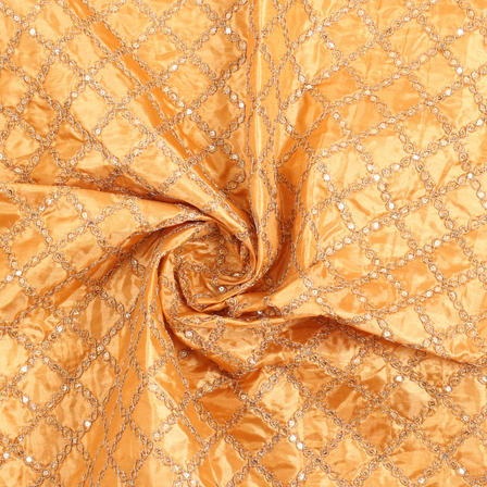 Golden Embroidery Silk Fabric-60898