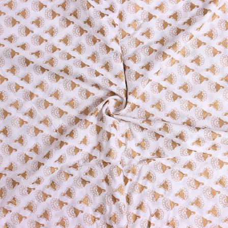 1 MTR-Golden Floral Design On White Block Print Cotton Fabric-14303