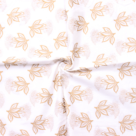 Golden Floral Pattern On White Block Print Cotton Fabric-14302
