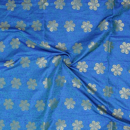 Golden Flower Design On Blue Brocade Silk Fabric-8360