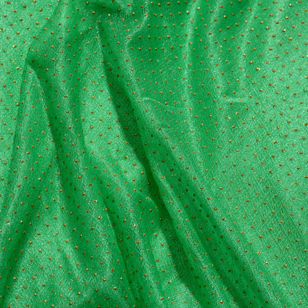 Golden-Green Pearls Design Lycra Fabric-6534