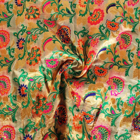 Golden Green and Pink Floral Banarasi Silk Fabric-9446