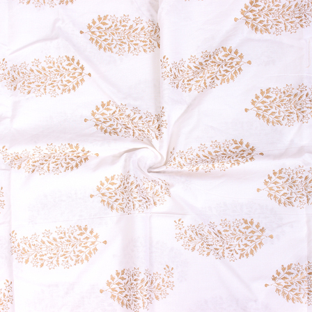Golden Leaf Design On White Block Print Cotton Fabric-14304