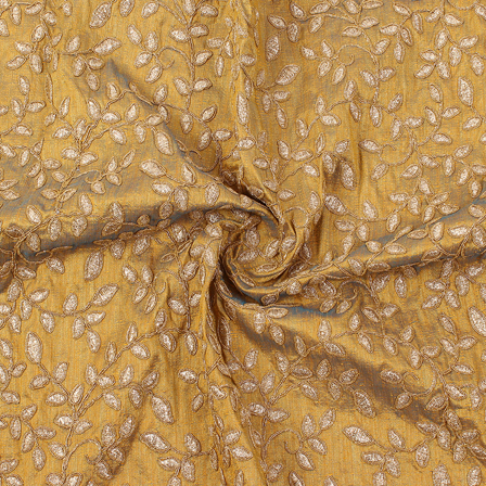 Golden Leaf Design Silk Embroidery Fabric-60215