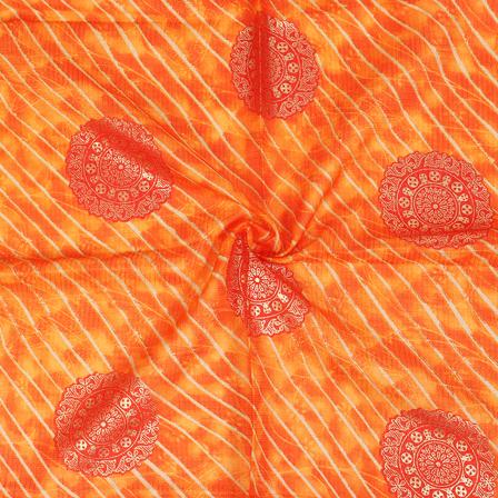 Golden Leharia With Circular Pattern On Orange Kota Doria Fabric-25031