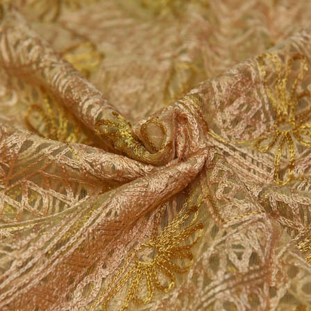 Golden Net Base Fabric With Floral Embroidery-60060