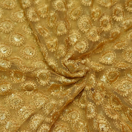 Golden Net Base Fabric With Flower Embroidery-60059