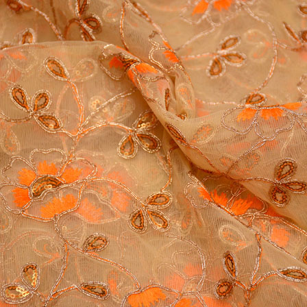 Golden-Orange and Beige Flower Shape Embroidery Net Fabric-5273