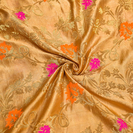 Golden Orange and Pink Floral Satin Brocade Silk Fabric-12016
