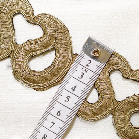 9 MTR Roll of Golden Paisley Embroidery Lace Saree Border Fabric-4045