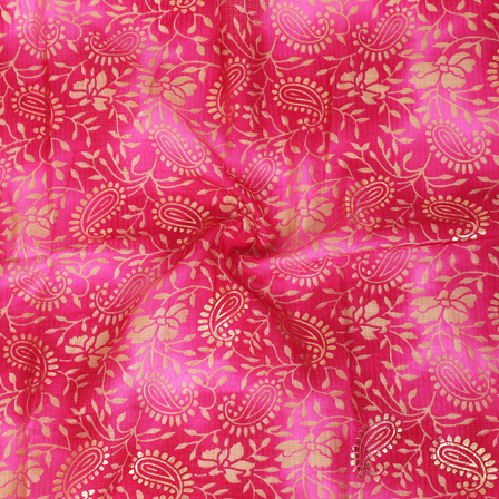 Golden Paisley Pattern On Pink Kota Doria Fabric-25034