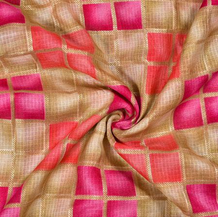 Golden Pink Checks Kota Doria Fabric-42504
