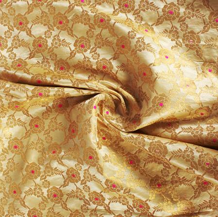 Golden Pink Floral Banarasi Silk Fabric-9421