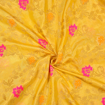 Golden Pink Floral Satin Brocade Silk Fabric-12701