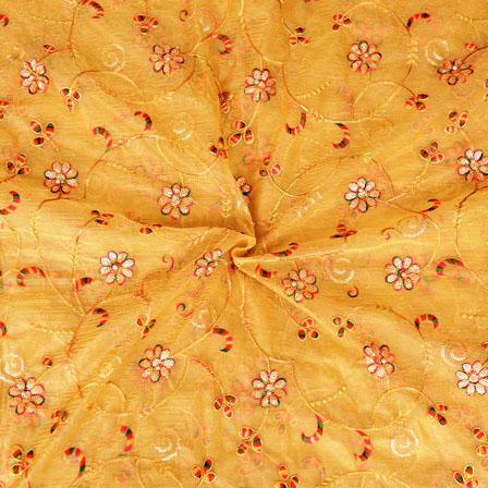 Golden Pink Flower embroidery Organza Silk Fabric-51519