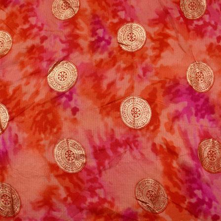 Golden-Pink and Orange Circle Pattern Kota Doria Fabric-6029