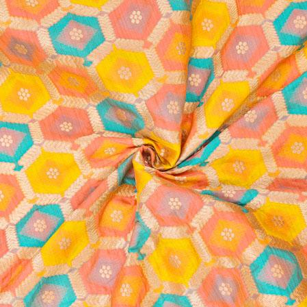 Golden Pink and Yellow Circle Banarasi Silk Fabric-12583
