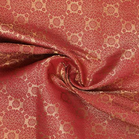 Golden Red Brocade Silk Fabric-8979