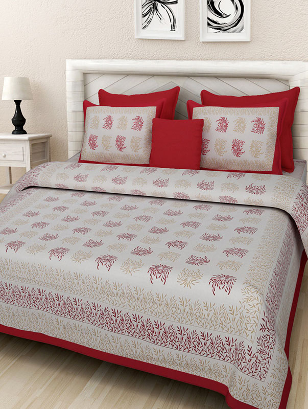 Golden Red Cotton Jaipuri Bedsheet-674