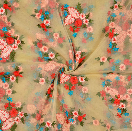 Golden Red Floral Net Embroidery Silk Fabric-18890