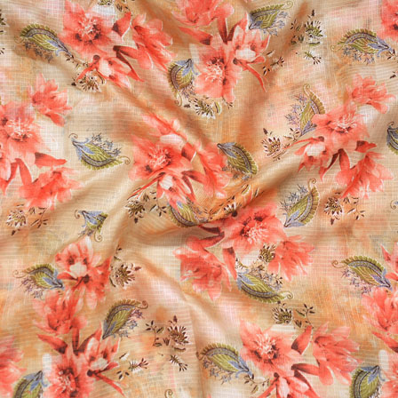 Golden Red and Green Flower Kota Doria Fabric-25134
