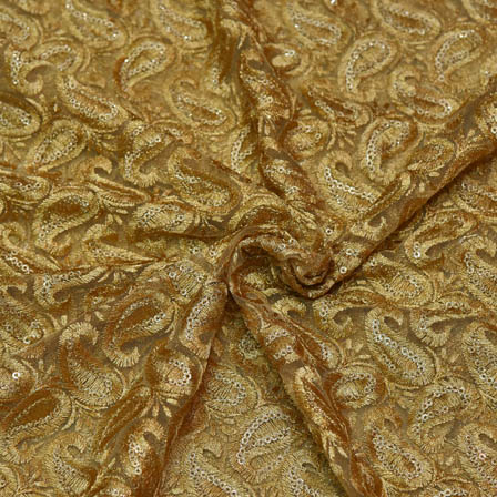 Golden Silk Net Base Fabric With White Paisley Silk Embroidery-60064