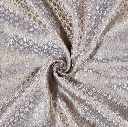 Golden Silver Flower Brocade Silk Fabric-12910