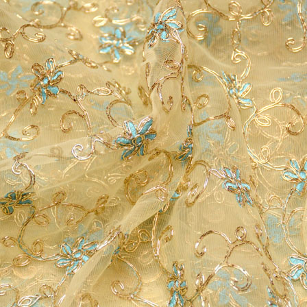 Golden-Sky Blue and Beige Flower Pattern Embroidery Net Fabric-5260