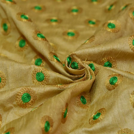 Golden Taffeta Base Fabric With Green Dot Embroidery-60065