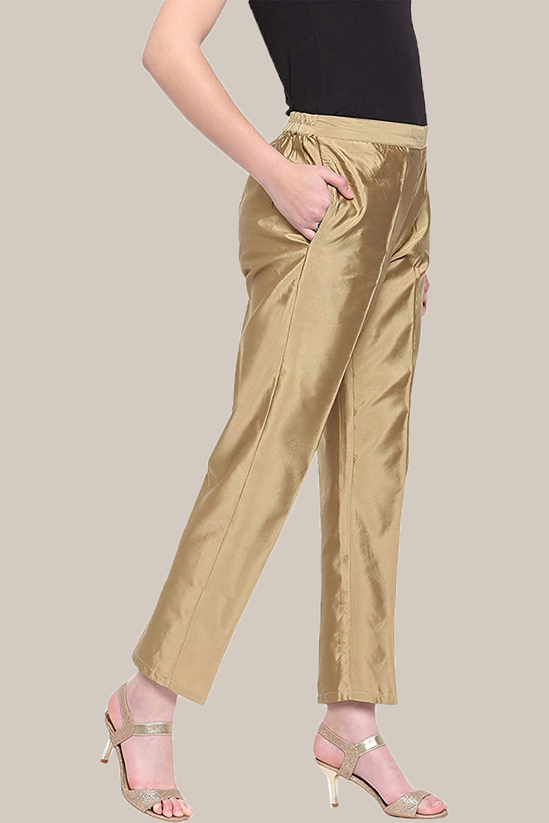 Golden Taffeta Silk Ankle Length Pant-33972