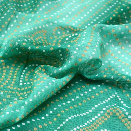 Golden-White and Green Bandhani Foil Pattern Kota Doria Fabric-6024