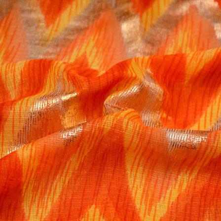 Golden-Yellow and Orange Zig-Zag Pattern Kota Doria Fabric-6019