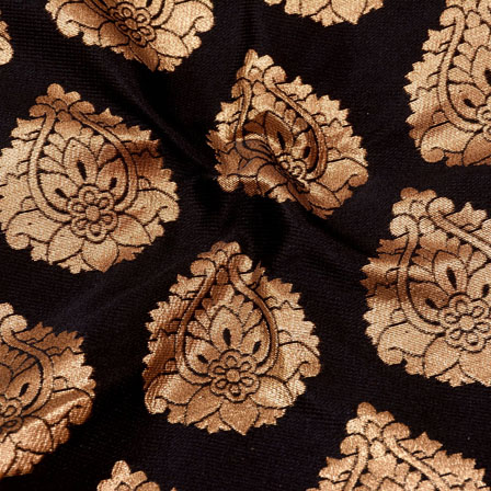 Golden and Black Flower Shape Brocade Silk Fabric-5366