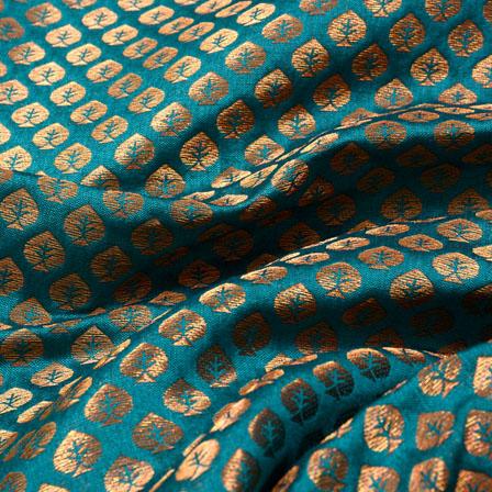 Golden and Cyan Leaf Pattern Chanderi Silk Fabric-5460