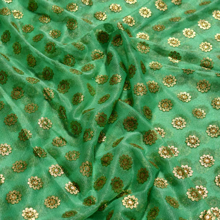 Golden and Green Flower Design Lycra Fabric-6531