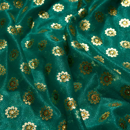 Golden and Green Flower Patttern Lycra Fabric-6522